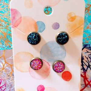 8mm Druzy Stainless Steel Studs Sets